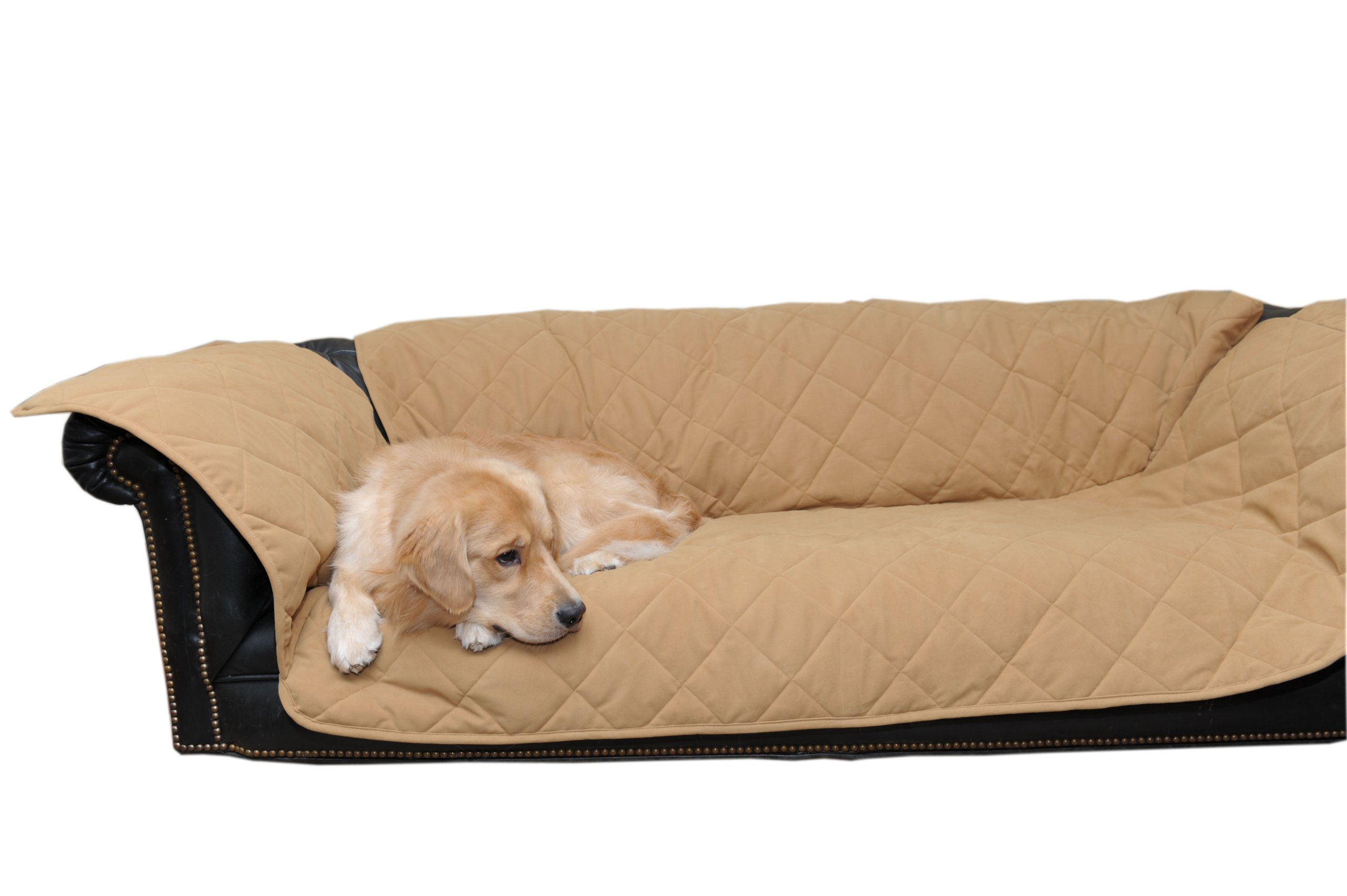 CPC Diamond Quilted Couch Protector for Dogs and Cats, 72 x 27 x 34-Inch, Caramel