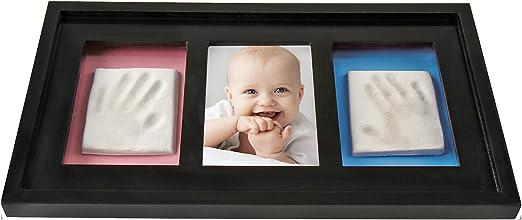 Fotos Baby Handabdruck und Fu/ßabdruck Bilder Holz und Plastik Jago Bilderrahmen mit Modelliermasse Setwahl 1er//2er//4er Multirahmen in Schwarz Abdruckset MDF Ton Fotorahmen