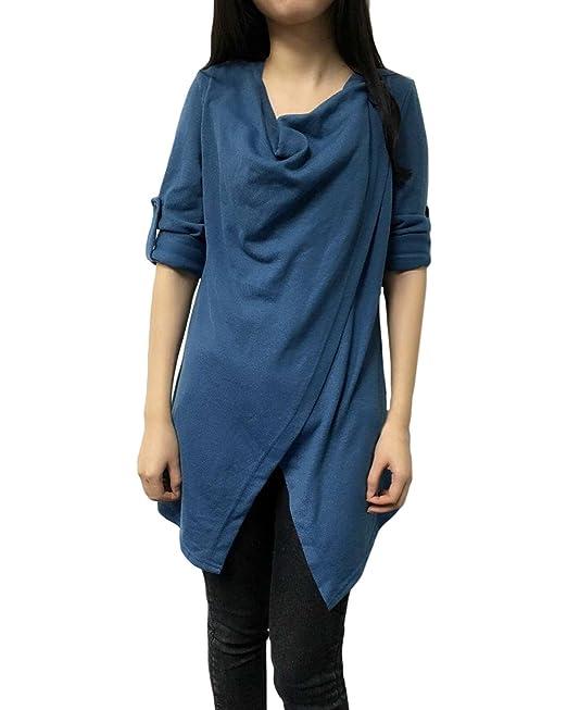 ZANZEA Blusa Suéter Jerséis Casual Elegante Oficina Escote Buche Mangas Largas para Mujer Azul EU 36