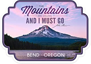 product image for Lantern Press Bend, Oregon - Purple Sunset and Peak - The Mountains are Calling - Contour 99223 (Vinyl Die-Cut Sticker, Indoor/Outdoor, Small)
