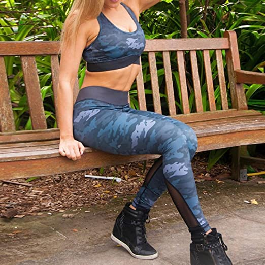 Femmes Vêtements de Sport Fitness Set Sportswear Camouflage Yoga Costume Gym  Running Tenue Athleisure Ensemble Entraînement Vêtements Sans Manches Bra  Crop ... 7f662e2cfb5