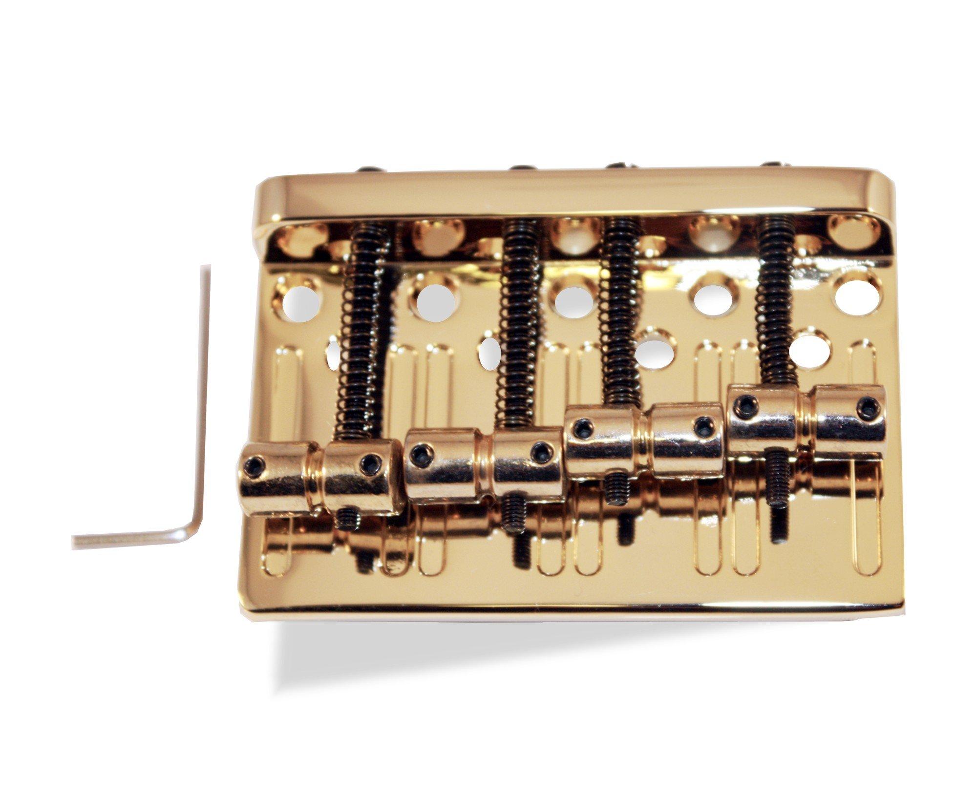 Bass Guitar Bridge 57 Millimeter 4 String Thru Body or Bridge Gold