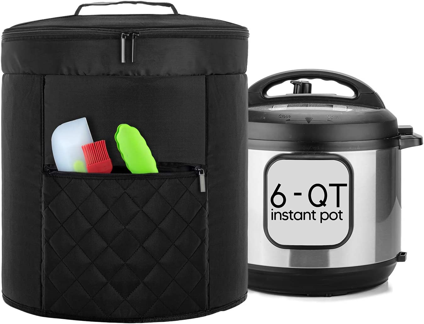 Luxja 2 Layers Cover Compatible with 6 Quart Instant Pot, Pressure Cooker Cover with Zipper Sections (Compatible with 6 Quart Instant Pot), Black