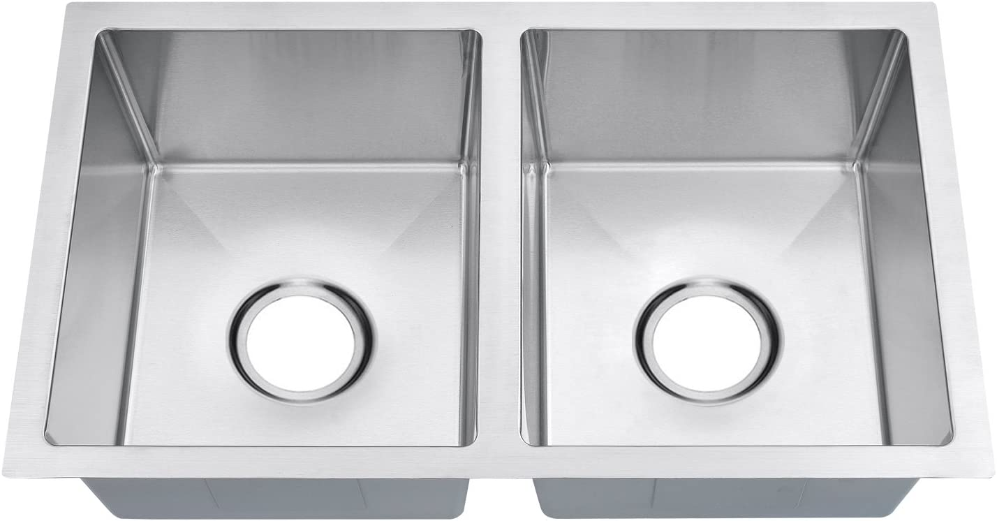 BILLION 27 x16 x7 Inch Handmade 50 50 Equal Double Bowl 18 Gauge Stainless Steel Undermount RV Sink Without Accessories