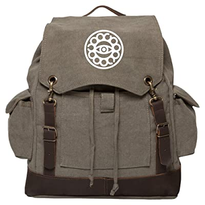 Doctor Strange Eye Vintage Canvas Rucksack Backpack with Leather Straps