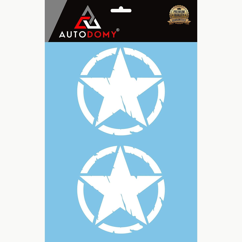 Autodomy Autocollants 4x4 Off Road /Étoiles Militaire D/étruit US Army Diff/érentes Tailles 10 cm 15 cm 20 cm 25 cm Pack de 2 unit/és pour la Voiture Blanc, 10 Cm