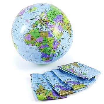 CLE DE TOUS - Globos terráqueo Hinchable Bola Mundo Hinchable para escolar Juguetes niños aprender geografía (5 uds)