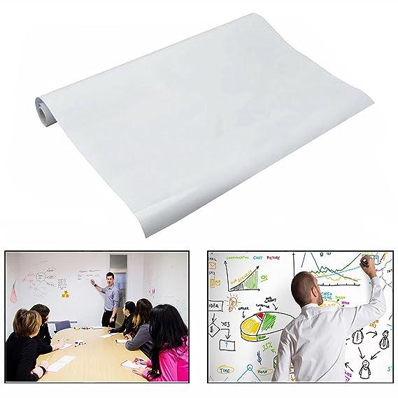 XLKJ Pizarra Blanca Adhesiva de Pared Autoadhesivo 45 x 200 cm para Hogar y Oficina ect