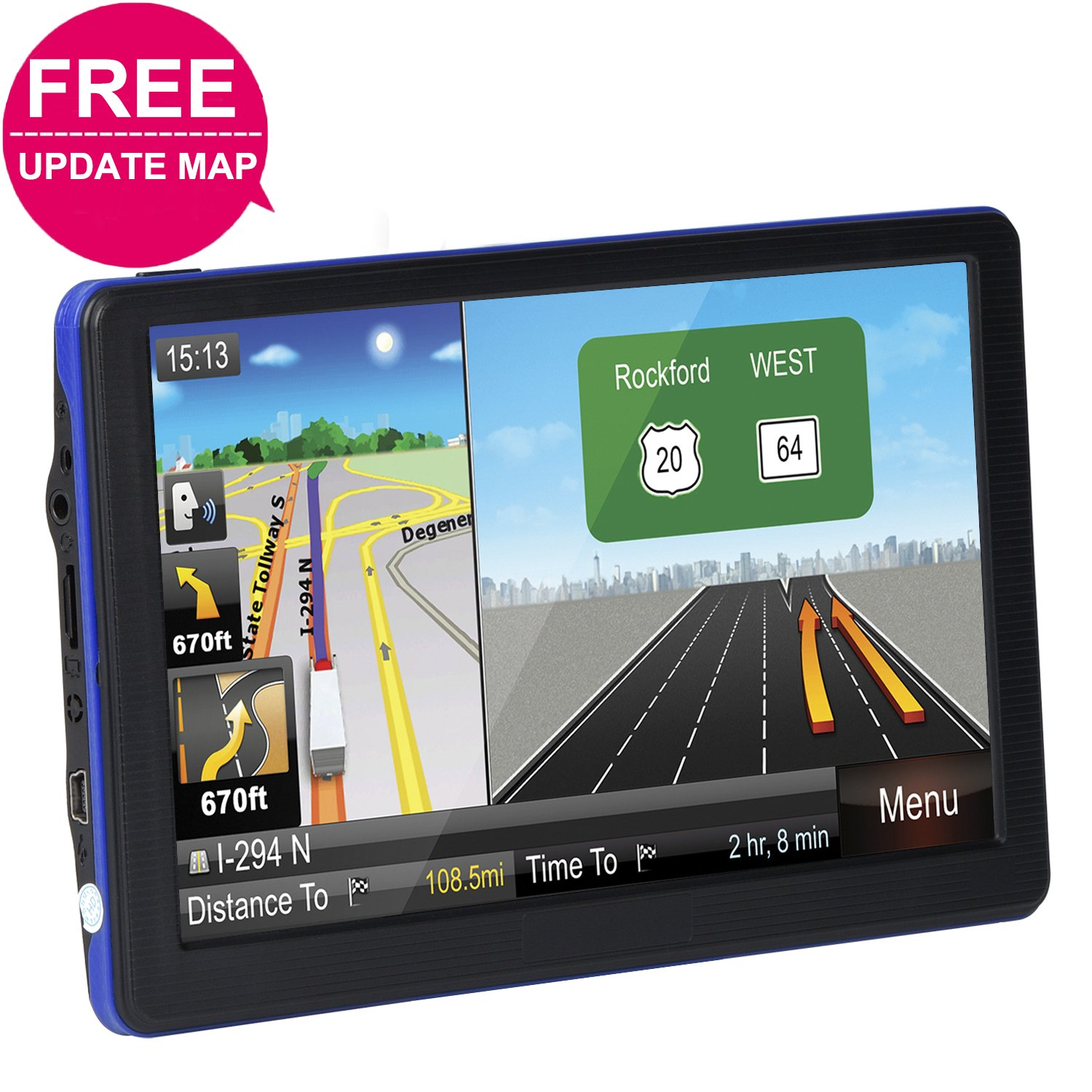 "Car GPS Navigation System, TSWA Free Lifetime Map Update GPS Navigation for car,SAT NAV, 7"" HD GPS Navigator, Vehicle GPS Navigation with USB Cable and Car Charger & Mount"