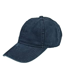 Faleto Adjustable Baseball Cap Washed Dyed Cotton Plain Peaked Hat Navy