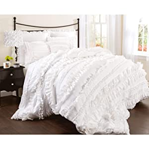 Lush Decor Belle 4 Piece Ruffled Shabby Chic Style Bed Skirt and 2 Pillow Shams, King Comforter Set, White