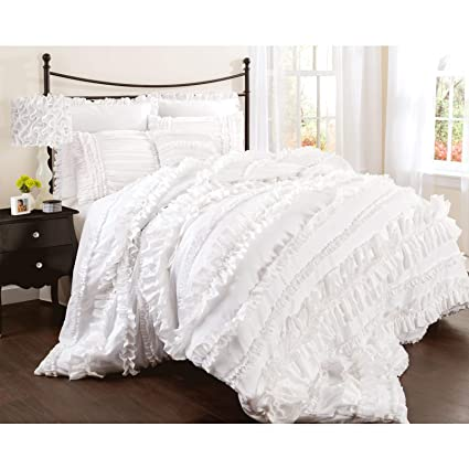 Prime Lush Decor Belle 4 Piece Ruffled Shabby Chic Style Bed Skirt And 2 Pillow Shams King Comforter Set White Download Free Architecture Designs Grimeyleaguecom