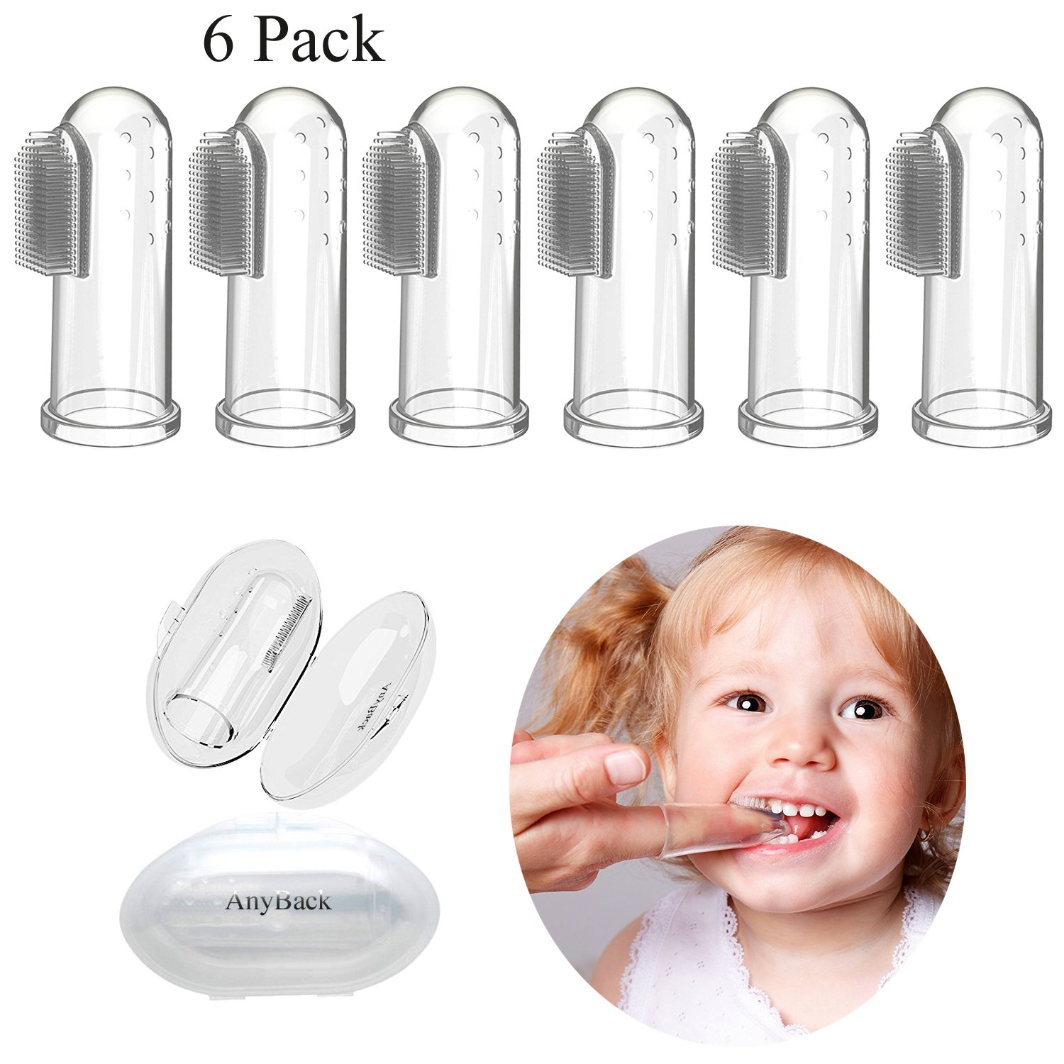 AnyBack Baby Toothbrush,Silicone Finger protectors fingertip Toothbrush for Infant&Toddlers&Kids, Toothbrush Teether and Oral Massager with Case Set of 6(Clear)