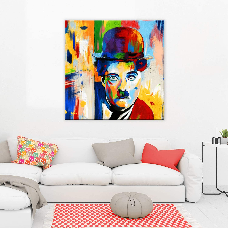 Charlie Chaplin Quadro stampa su Canvas montata su telaio in legno Ridere
