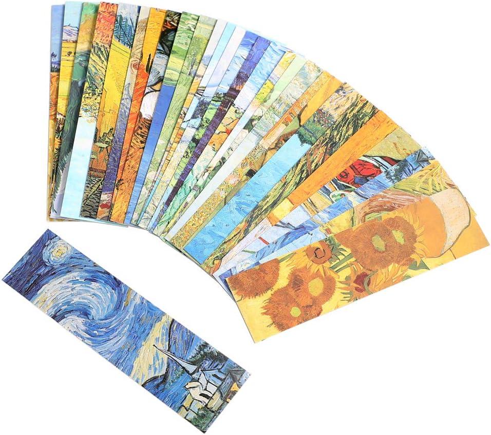 30PCS Van Gogh Oil Painting Bookmarks for Women Men Kids Boys Girls