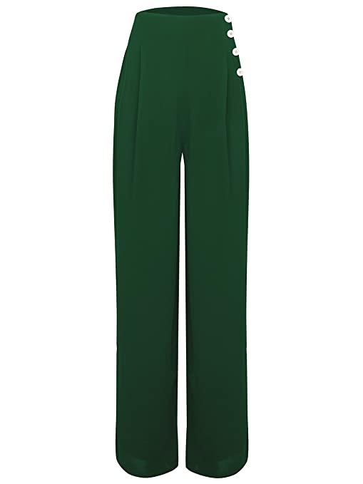 1940s Pants History- Overalls, Jeans, Sailor, Siren Suits 1940s Vintage Inspired Vintage Green Audrey Trousers by The Seamstress of Bloomsbury £49.00 AT vintagedancer.com