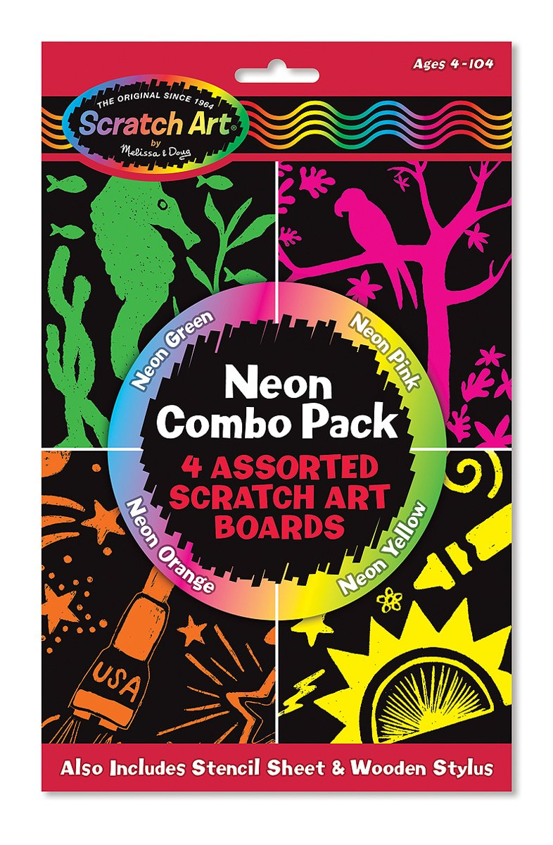 Melissa & Doug Scratch Art Neon Combo 4-Pack - 4 Boards, Stencil Sheet