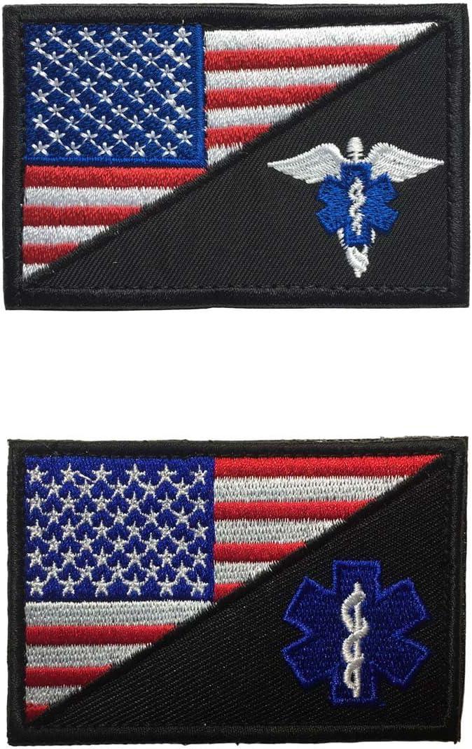 SpaceCar Parches de insignia táctica con diseño de la bandera de Estados Unidos, estrella de la vida y estrella de la vida con alas y medica paramédica EMT EMS: Amazon.es: Juguetes y