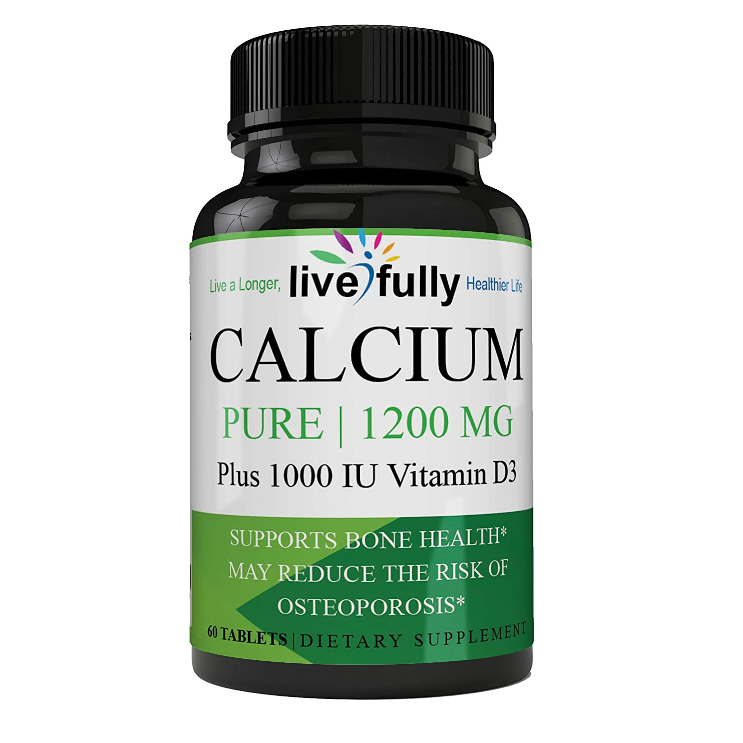 Calcium Supplement - Bone Strength Clinical Strength Plant Plus Vitamin D3 Excellent Source of Calcium 1200 MG High Potency