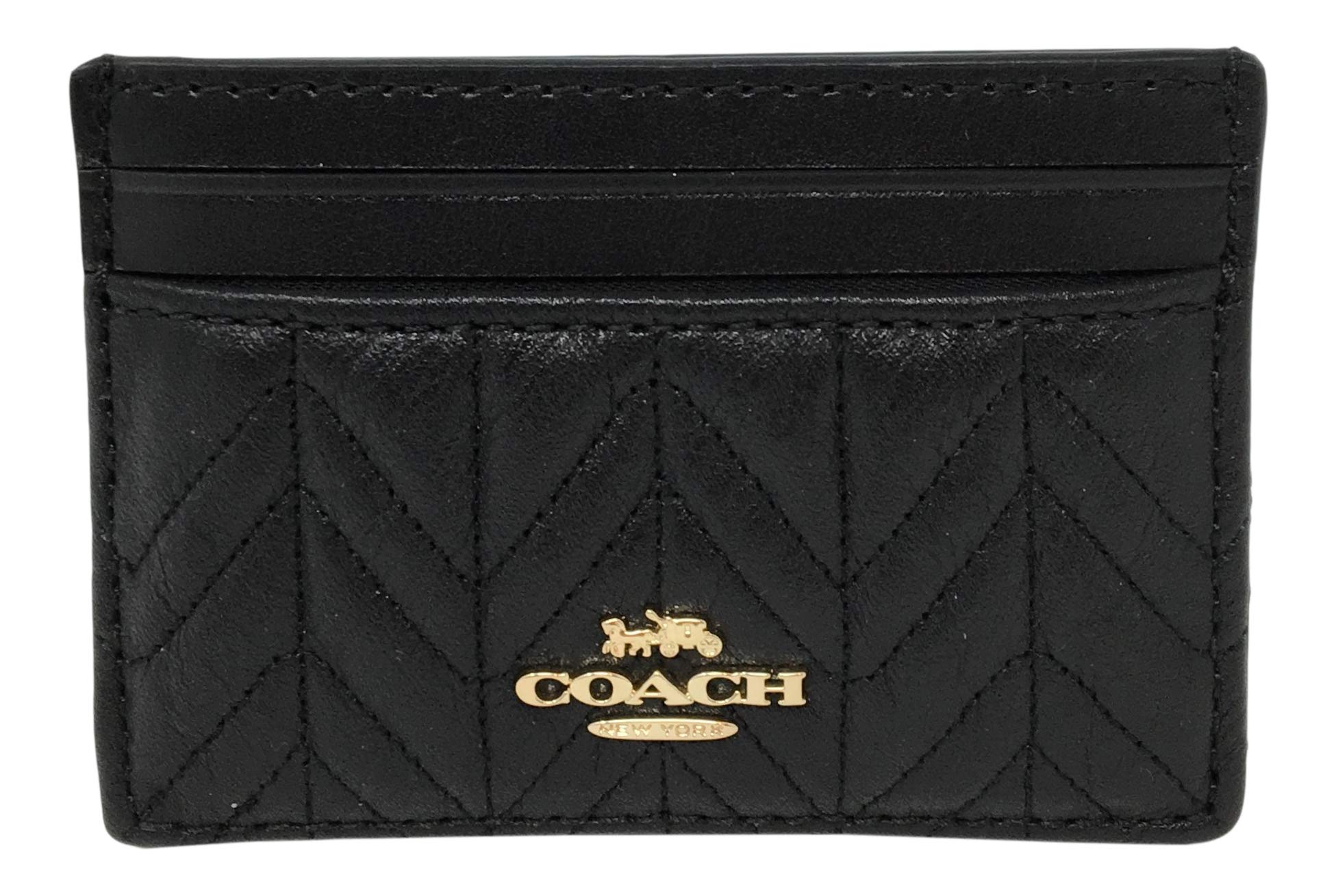 Coach Quilted Card Case in Refined Leather Black F73000 by Coach