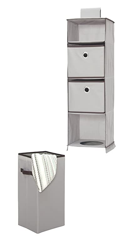 STORAGE MANIAC Hanging Closet Organizer With Removable Laundry Basket, 2  Drawers, 1 Laundry Bin
