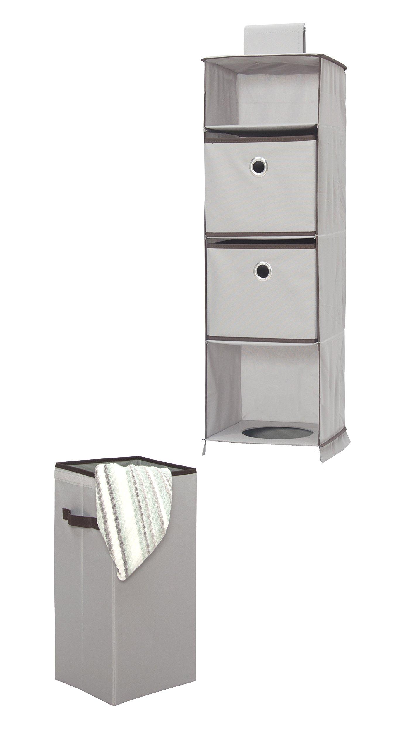 STORAGE MANIAC Hanging Closet Organizer with Removable Laundry Basket, 2 Drawers, 1 Laundry Bin, Gray