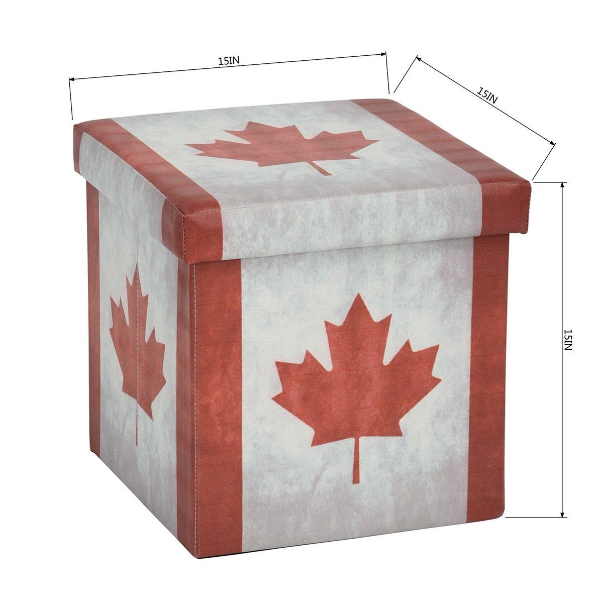 Fabulous Canada Flag Maple Leaf Storage Ottoman Foldable Storage Organization Evergreenethics Interior Chair Design Evergreenethicsorg