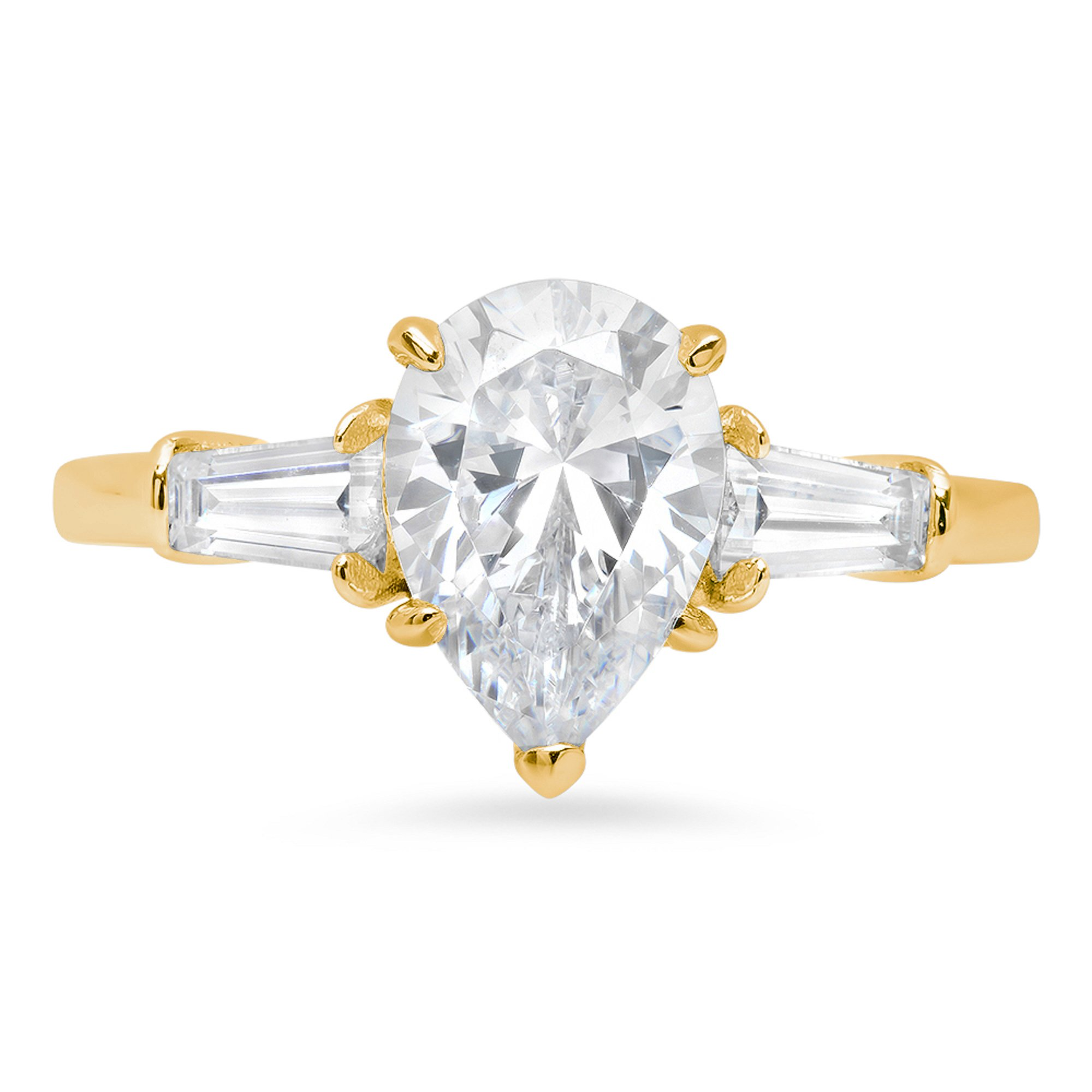 2.7ct Pear Baguette Brilliant Cut 3-Stone Statement Classic Designer Solitaire Anniversary Engagement Wedding Bridal Promise Ring Solid 14k Yellow Gold For Women, 7