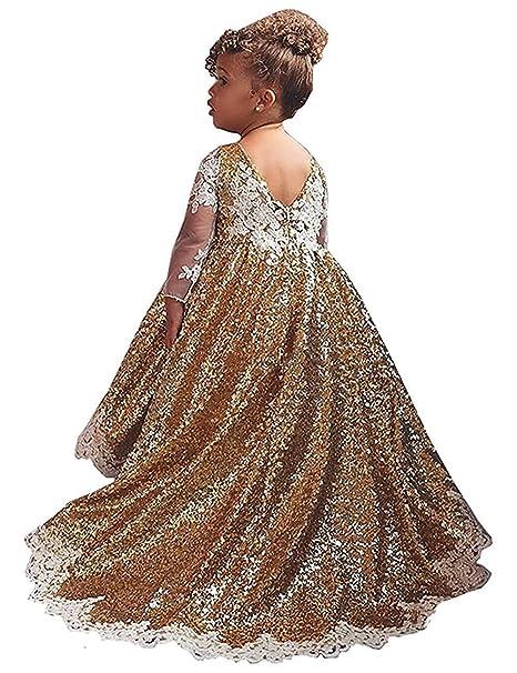 ebc03bfdb2 Amazon.com: Portsvy Girls Shiny Gold Sequins Wedding Flower Girl ...