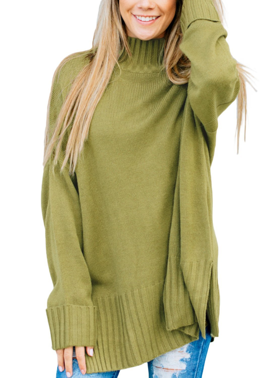 Dokotoo Womens Pullover Winter Fall Warm Basic Solid Loose Oversized Long Cuffed Sleeve Casual High Neck Knit Sweater Pullover Top Large