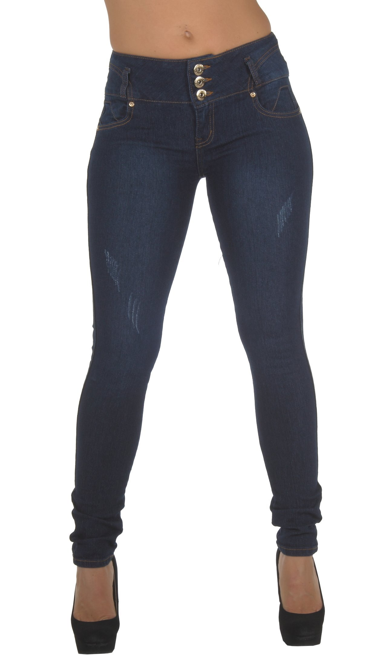 Diamante Style N552– Colombian Design, Butt Lift, Mid Waist, Skinny Jeans in Navy Size 11