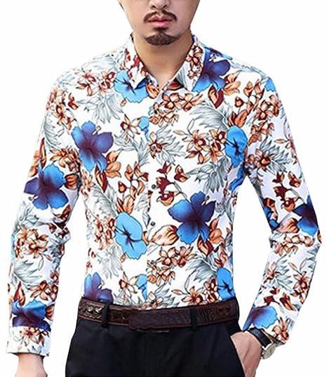 f5faeacd535 Ptyhk RG Mens Slim Fit Floral Print Plus Size Long Sleeve Button Down Shirt  Blue XXS
