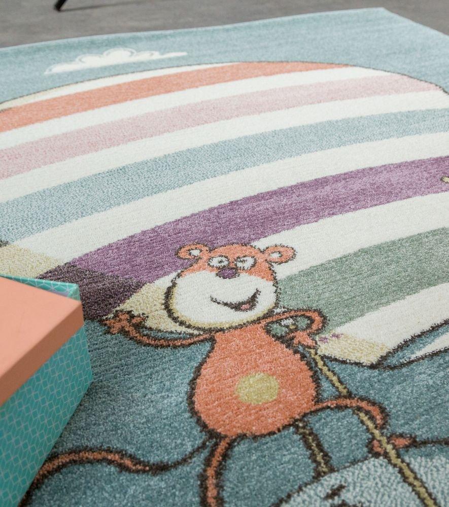 Paco Home Kinderteppich Spielzimmer Verspielt Kunterbund Zootiere Luftballon Verspielt Spielzimmer Mehrfahrbig, Grösse 120x170 cm 63a886
