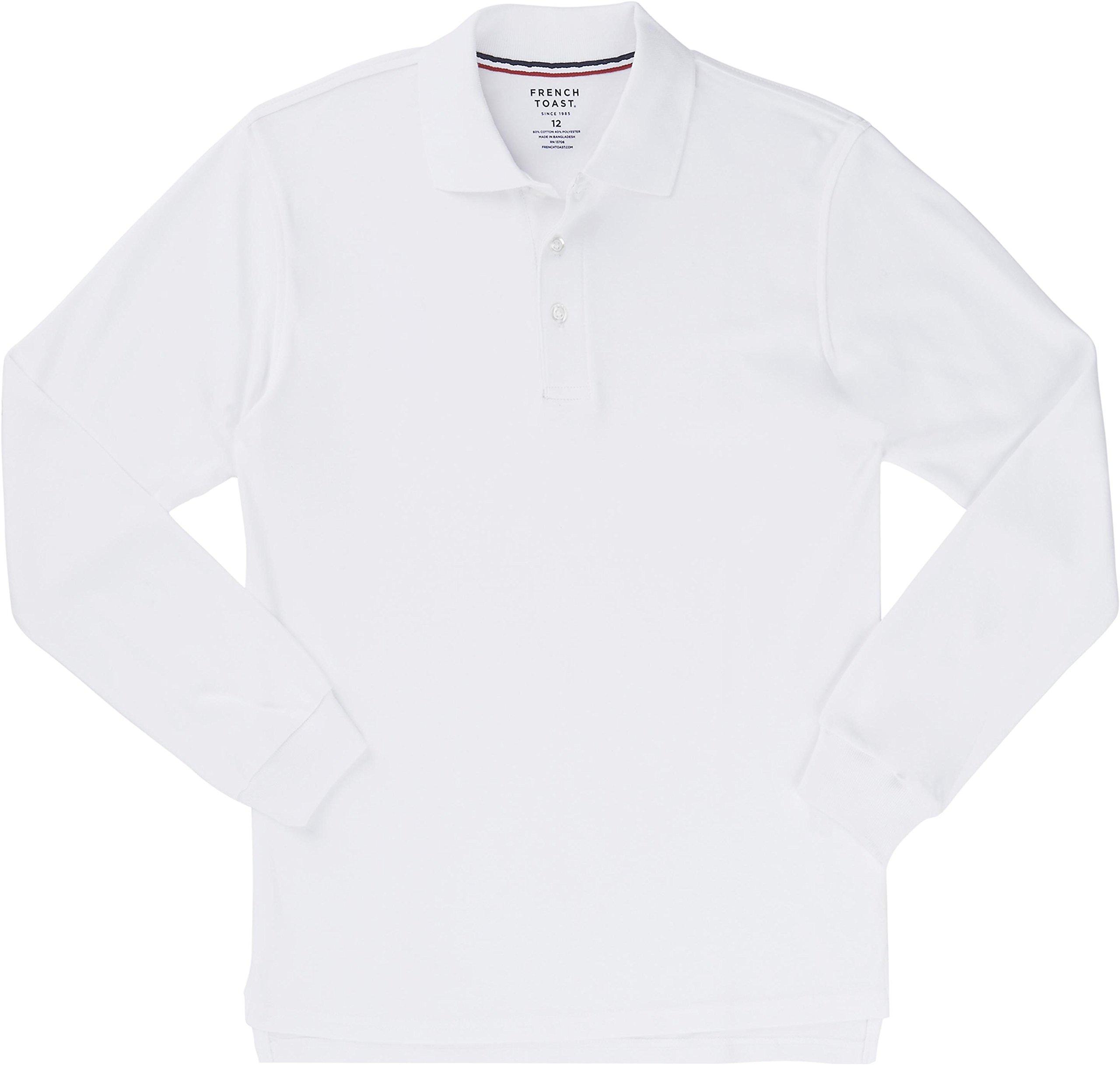 French Toast School Uniform Boys Long Sleeve Interlock Knit Polo Shirt, White, Medium (8)