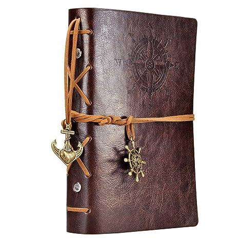 Ai-life Retro Vintage Ubierta de Cuero de la PU Cuaderno Agenda Bloc de Notas Pirata Náutico Revista Diario Timón de Cuerda, Libro Cuaderno en Blanco ...