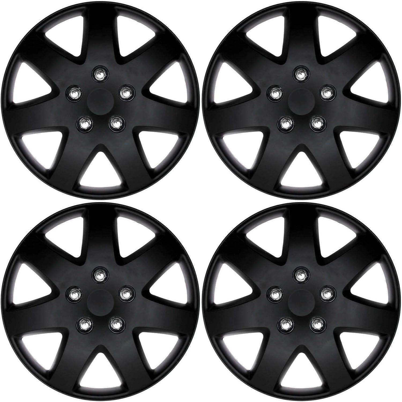 cicisame 4pcs//Set of 16 Matte Black Hub Caps Rim Cover for OEM Steel Wheel Covers