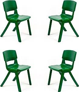 Postura - Juego de 4 sillas apilables (plástico Resistente, fácil de Limpiar): Amazon.es: Juguetes y juegos