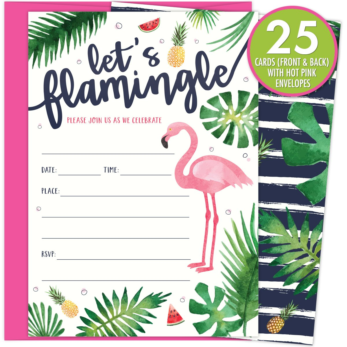 photograph regarding Printable Flamingo Template identified as Permits Flamingle Occasion Invites with Crimson Flamingo and Palm Leaves. 25 Warm Purple Envelopes and Fill within Invitations for Soirees, Bridal Showers, Kid