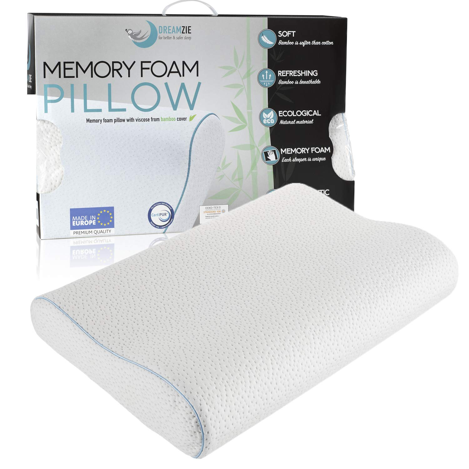 Dreamzie Ergonomic Memory Foam and Orthopaedic Pillow (60 x 40 cm) OEKO-TEX and Certipur Certified - Neck Pillow that Provides Support and Helps Reduce Neck Pain - Bamboo Fibre Cover BMS International
