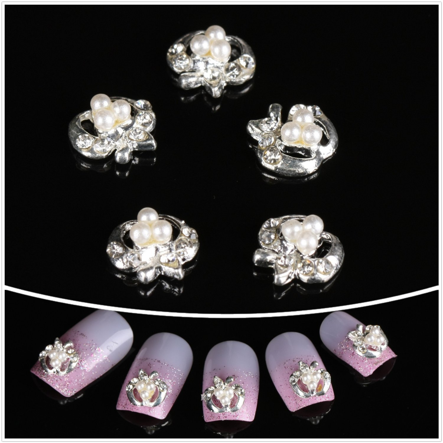 So Beauty 100pcs 3D Apple Style with Artificial Pearl Nail Art/DIY Nail Decoration by So Beauty