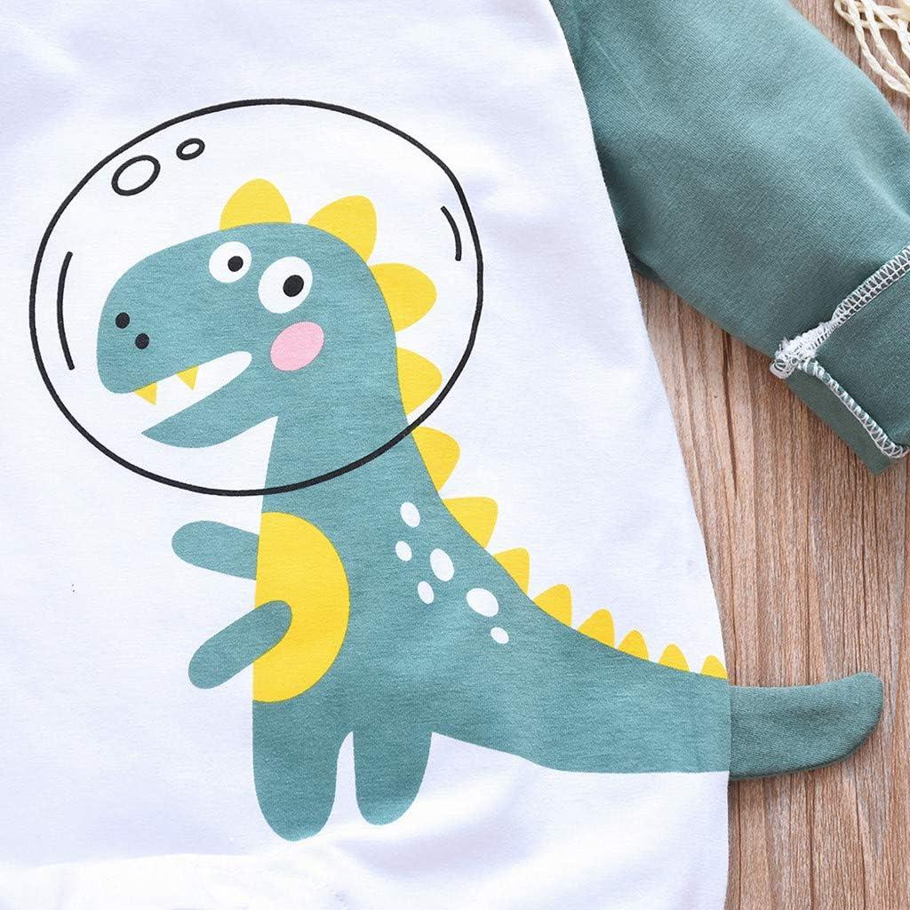 Zegeey Unisex M/äDchen Jungen Jumpsuits Strampler Langarm Karikatur Dinosaurier Spielanzug Overall Kleidung Tier Cartoon Druck Schlafanzug Geburtstag Geschenk
