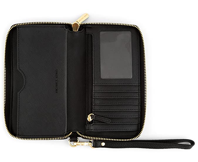 e34e0437451c Amazon.com: Michael Kors Fulton Large Flat Multi Function Leather Phone Case  (Black): Cell Phones & Accessories