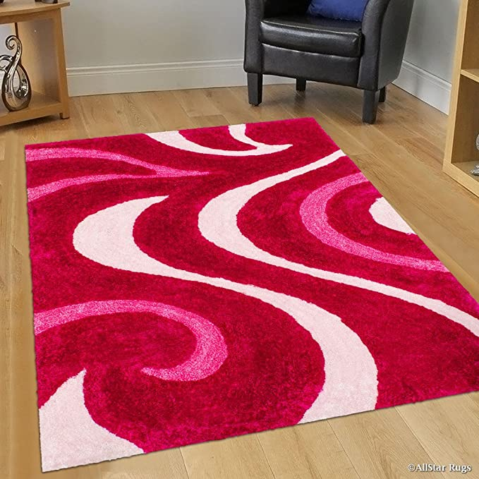Allstar 8x11 Pink Modern And Contemporary Hand Carved Rectangular Shag Accent Rug With Red And Baby Pink Abstract Swirl Design 7 5 X 10 5 Home Kitchen