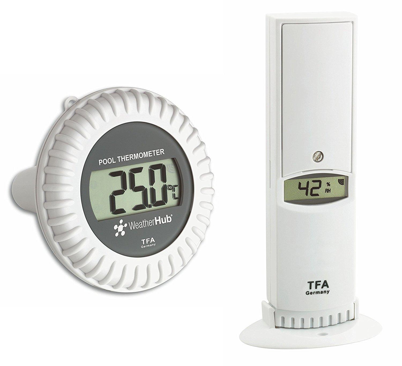 TFA Dostmann 30.3310.02térmica de higrómetro, emisor con Pool emisor para Weather Hub SmartHome–Sistema de climática y vigilancia doméstico con Smartphone, weiß mit Batterien