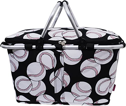 Baseball Print Insulated Market Picnic Basket-black