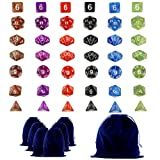 Goodlucky365 42 Polyhedral Dice - Complete Sets Of Seven Dice In 6 Colors - 42 Dice in 6 little dice bags - FREE Large Velvet Dice Bag