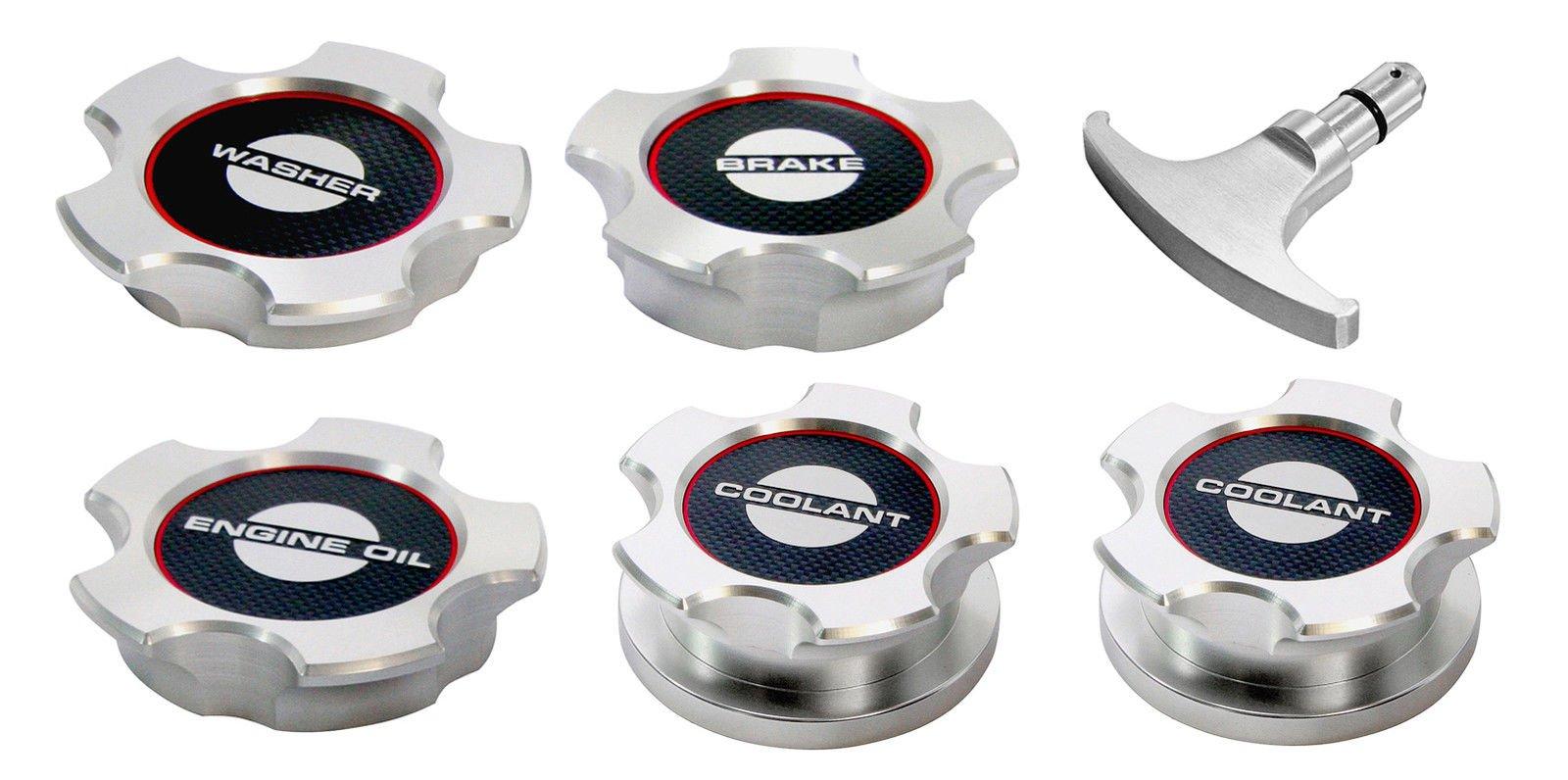 2011 2012 Shelby GT500 Billet Aluminum Engine Caps Set - Carbon Fiber Labels