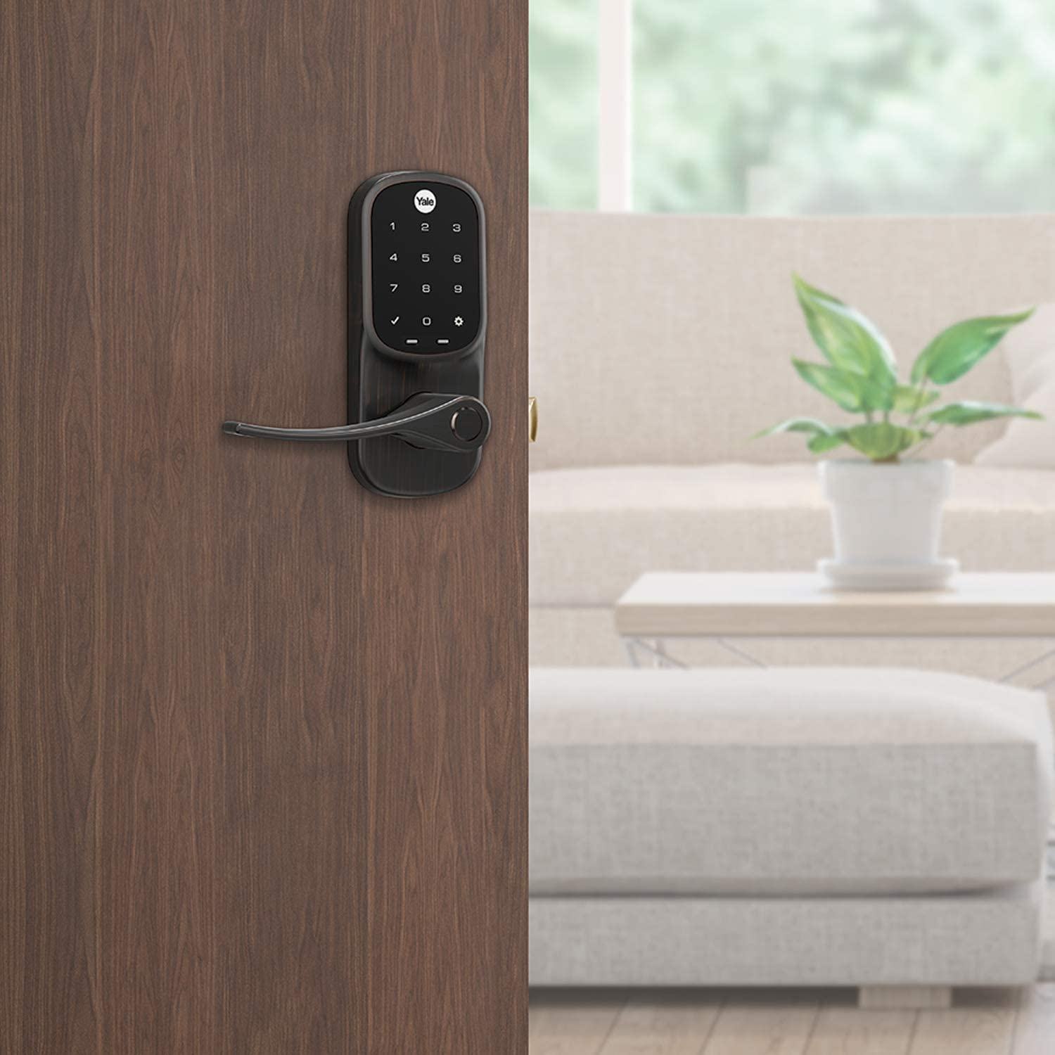 Samsung SmartThings Works with Ring Alarm Satin Nickel ADT and More Yale Assure Lever Wink Smart Touchscreen Keypad Lever Lock with Z-Wave Plus