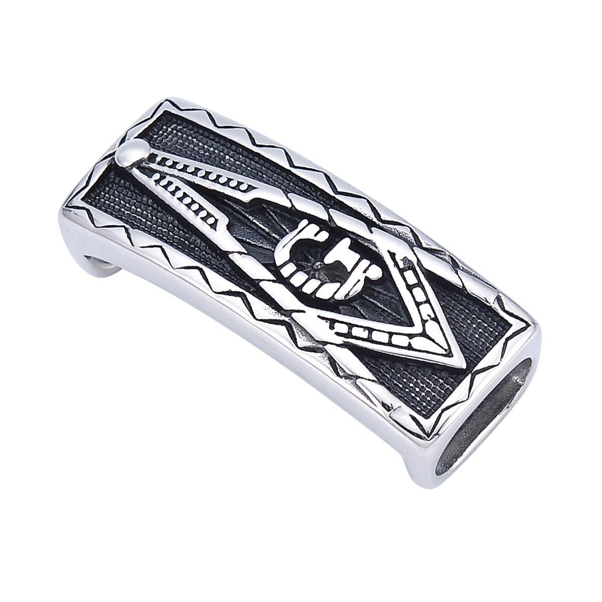 para collar cadena y joyas hacer 40/mmx15/mm agujero: 12mmx7/mm YF 2/pcs antiguo plata acero inoxidable logo s/ímbolo mas/ónico cuadrado tubo collar accesorios