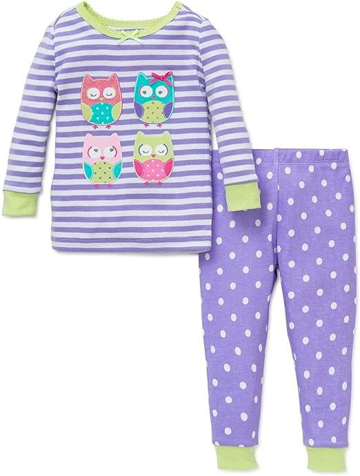 Little Me Girls Cotton Purple Owl 2 pc Pajamas